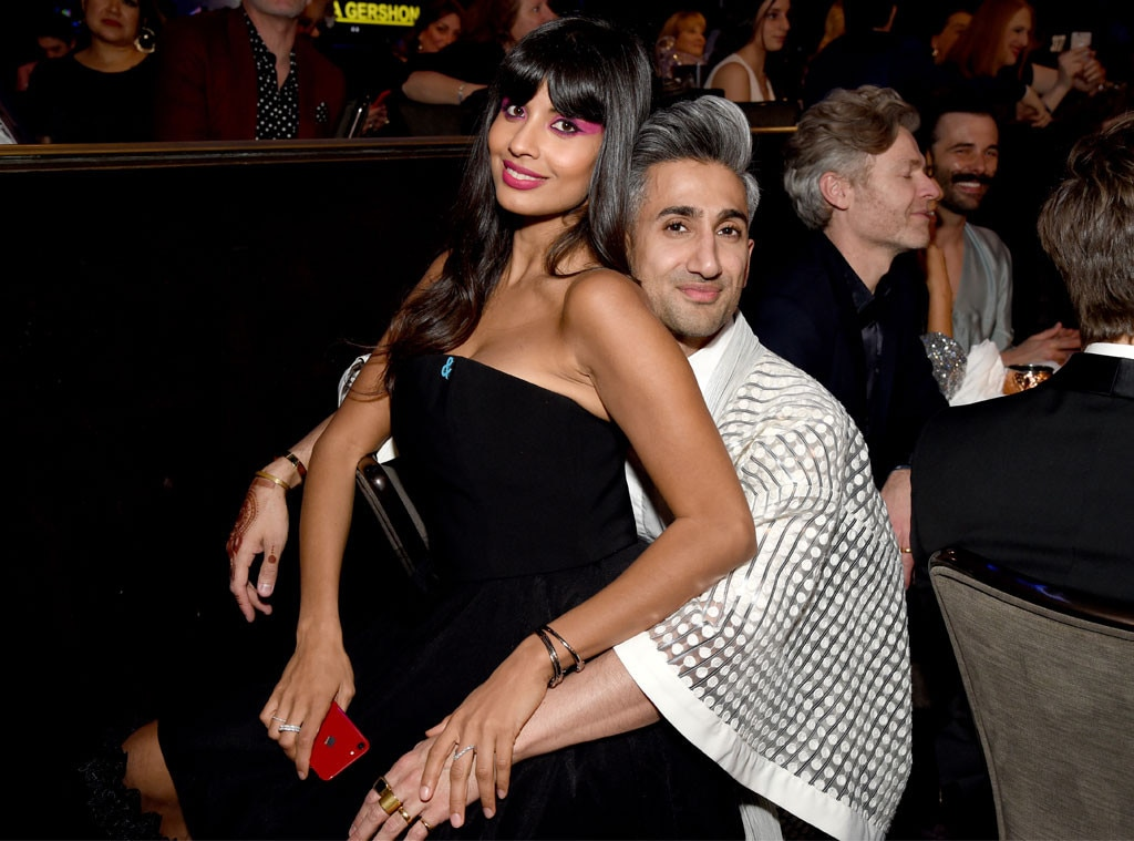 Jameela Jamil & Tan France -  The actress and fashion guru cozy up for photographers.