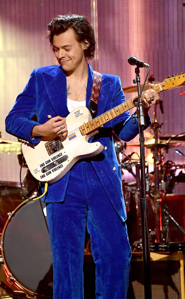 Harry Styles -  Blue velvet! The former 1D member dons an eye-catching suit to perform with Stevie Nicks at the 2019 Rock & Roll Hall of Fame Induction Ceremony in NYC.