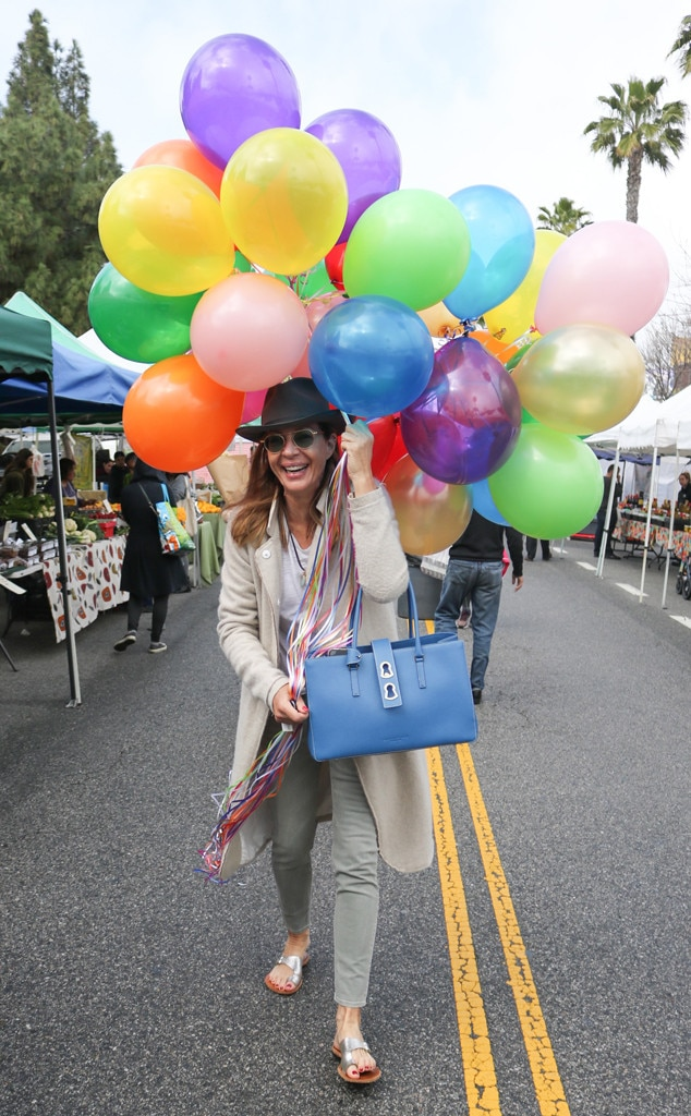 Allison Janney -  The actress picks up some colorful balloons at the Farmers Market in Los Angeles.