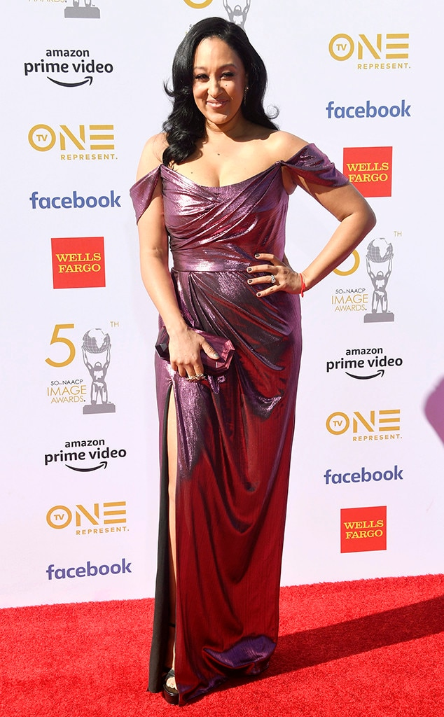 Tamera Mowry-Housley - The Real  co-hostess shimmers in pink on the red carpet at the 50th annual NAACP Image Awards.