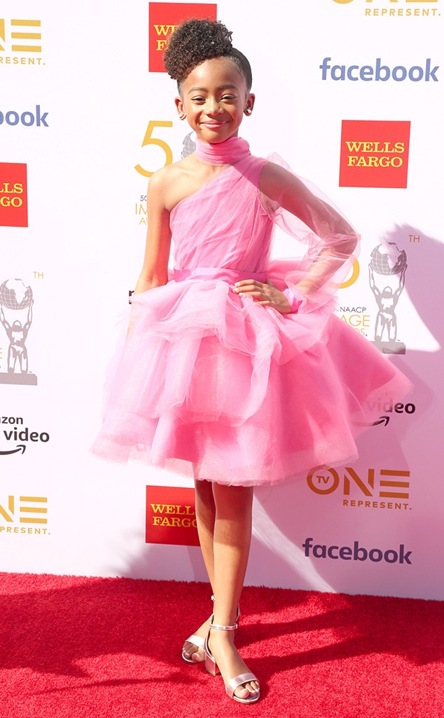 Faithe Herman -  The  This Is Us  star looks like a true ballerina on the carpet in a one-sleeve dress.