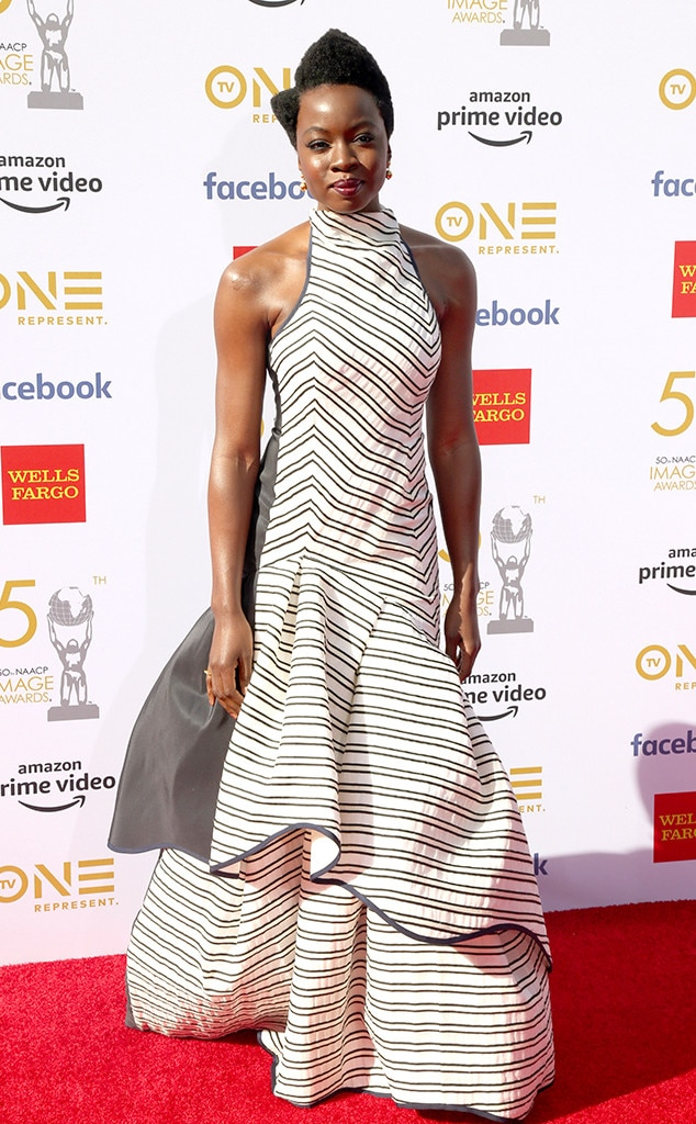 Danai Gurira -  The  Black Panther actress stuns in stripes on the red carpet.