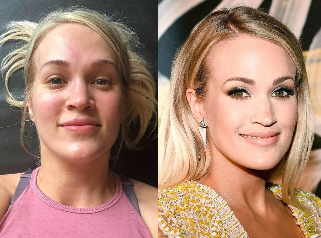 Carrie Underwood -  The singer shared this post-workout selfie in March 2019.