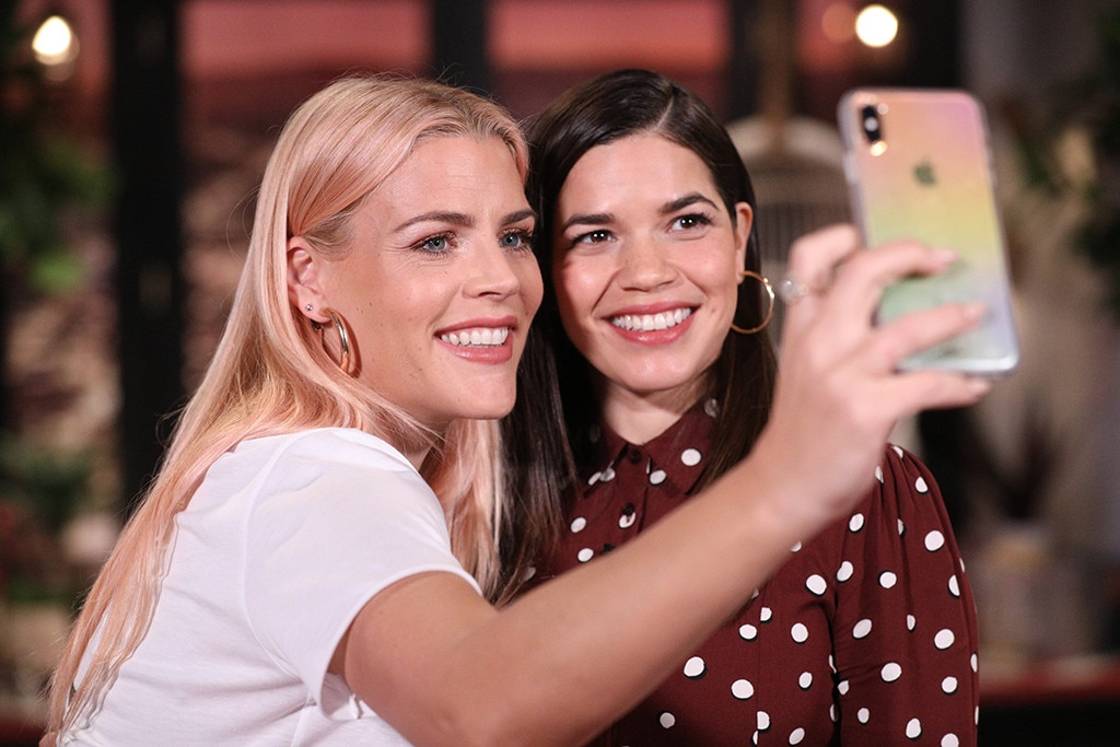 America Ferrera -  Girl power! Busy and the hilarious  Superstore  star snap a selfie while talking  International Women's Day  and the  #TimesUp movement .