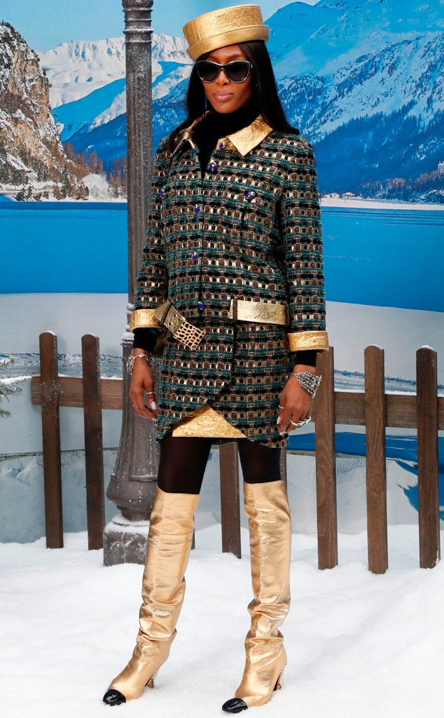 Naomi Campbell -  The iconic supermodel was dressed to impress in a printed ensemble with gold accents.