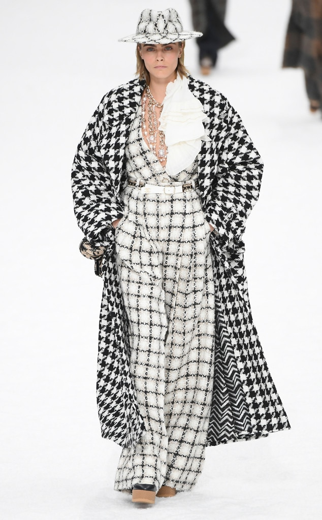 Cara Delevingne -  The model's ensemble featured a mix of black and white prints.