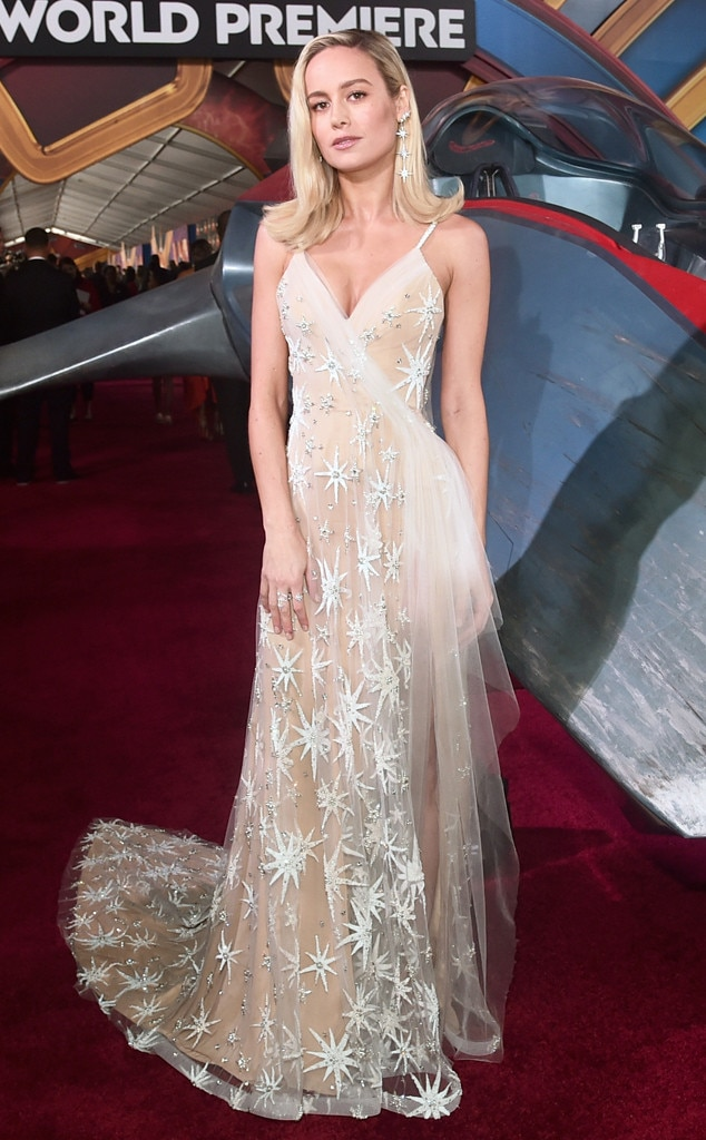 Star Power -  Larson stole the show at the  Captain Marvel  world premiere in Los Angeles in this custom Rodarte gown and Jimmy Choo heels.