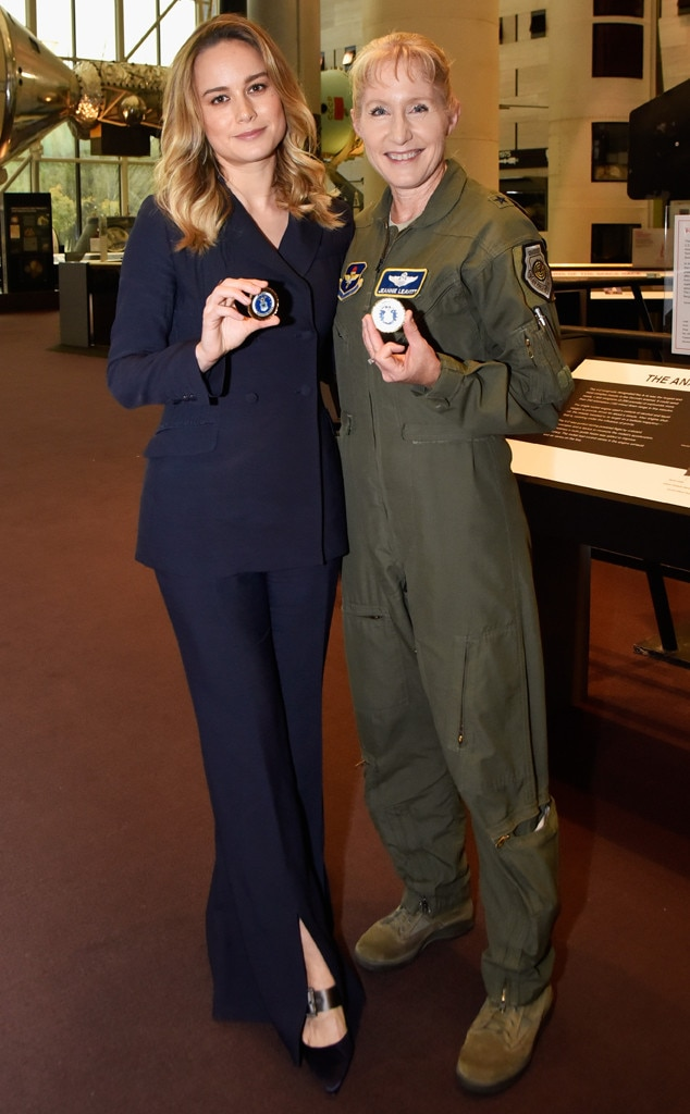 Military Maven -  When the actress screenedthe  Captain Marvel  trailer at the Smithsonian National Air and Space Museum, it was only fitting she wore aGabriela Hearst navy suit which gave off major military vibes.