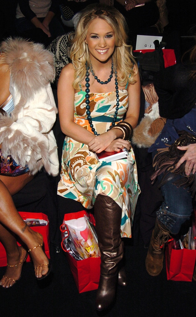 Carrie Underwood -  Fresh off her  American Idol  win, the country superstar perfects mid-2000s trends at Baby Phat's fall 2006 runway show.