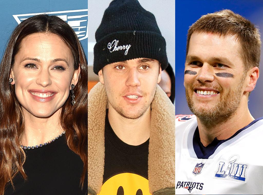 Jennifer Garner, Tom Brady, Justin Bieber