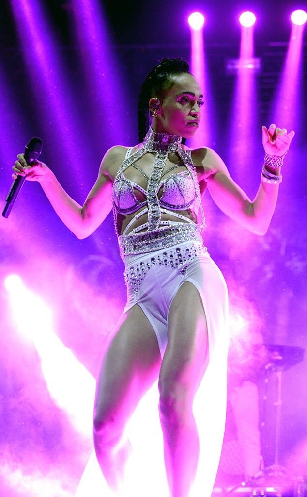 FKA Twigs -  FKA Twigs stuns on the stagewith her bedazzled, bondage-style top and flowy white pants.