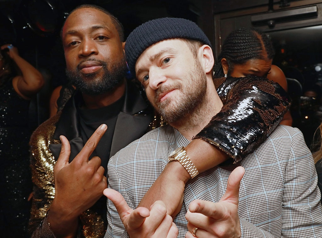 Dwayne Wade & Justin Timberlake -  One last time! The athlete and musician celebrate Dwyane's One Last Dance Retirement Party in New York City.