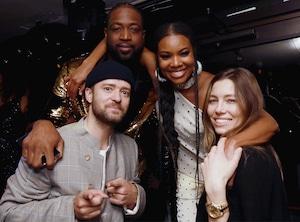 Dwyane Wade; Gabrielle Union-Wade, Justin Timberlake, Jessica Biel, Dwyane Wade's Retirement Party