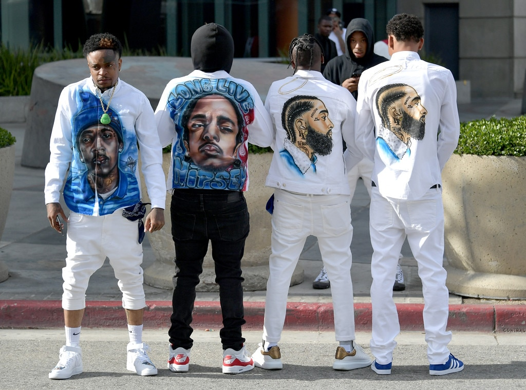 In Loving Memory -  Fans honor Nipsey Hussle with their wardrobe at the celebration.