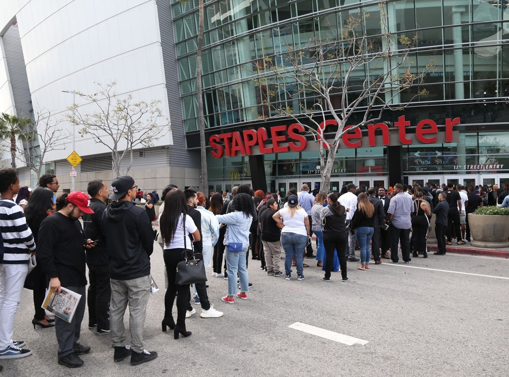 Fan Support -  Many fans have gathered at the Staples Center to remember the Grammy nominee.