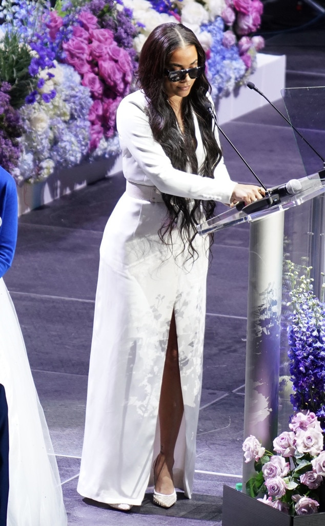 Lauren London -  The late rapper's longtime love, Lauren London, took the stage to honor the artist during the memorial service.