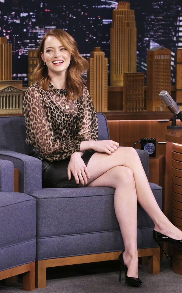 Emma Stone -  Cheetalicious! The actress makes an appearance at  The Tonight Show starring Jimmy Fallon  rocking a leather black skirt with a cheetah print blouse.