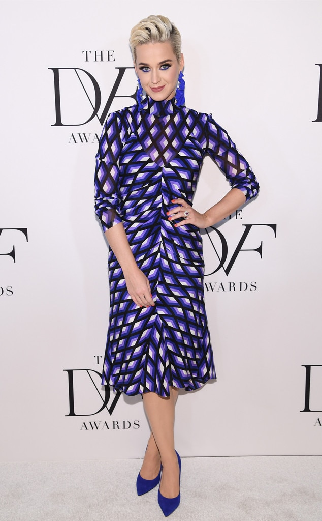 Prism Beauty -  Katy Perry attends the 10th Annual DVF Awards donning a blue and purple hue, geometric, turtleneck dress.