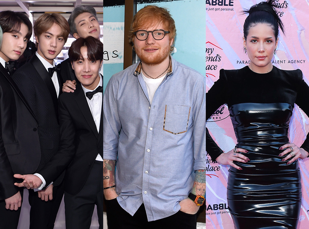 BTS, Ed Sheeran, Halsey