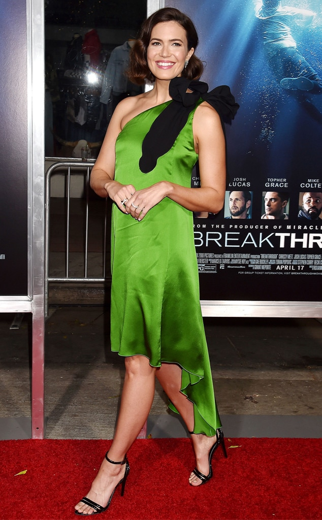 Green Zest -  Actress and singer  Mandy Moore  looks fabulous in a green off-the-shoulder silk dress adorned with a lavish bow detail at the premiere of  Breakthrough  in Los Angeles.