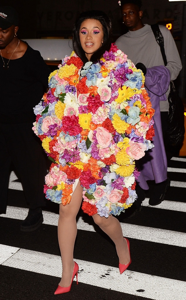 Flower Power -  Looking like a literal bouquet of flowers, the 26-year-old star struts her stuff on the streets of New York City in this Moschino get-up.