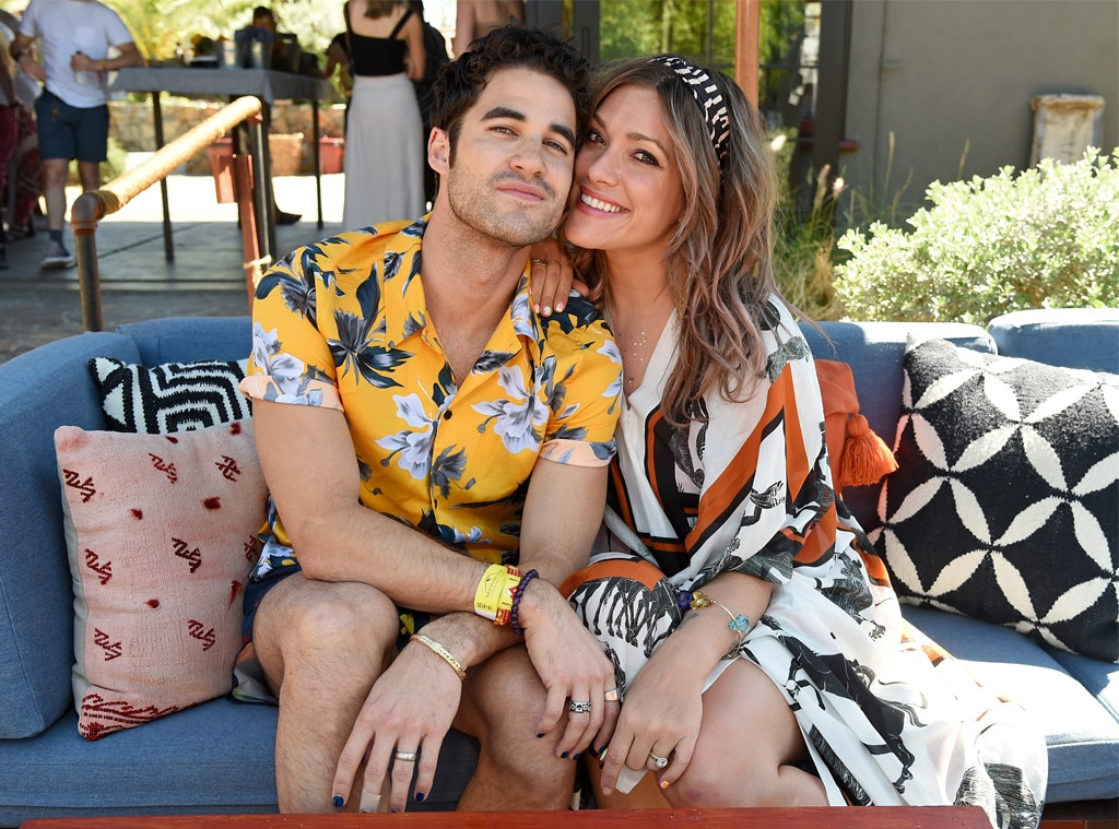 Darren Criss & Mia Swier -  The newlyweds are all smiles at the Poolside with H&M at Sparrow's Lodge event on April 13.