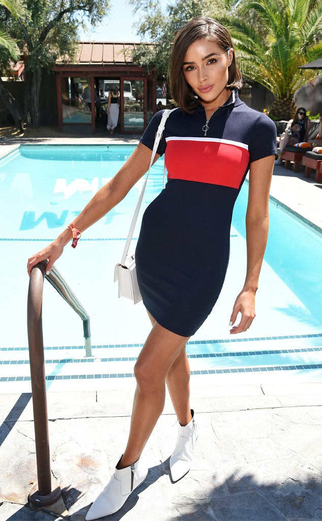 Olivia Culpo -  The model strikes a pose by a pool at the Poolside with H&M at Sparrow's Lodge event on Saturday.