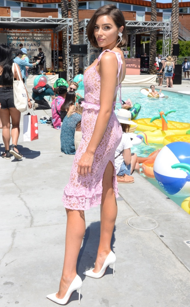 Olivia Culpo -  Pretty in pink! The model steps out in Rachel Zeilic's Majorelle line while visiting Lucky Brand X  Rolling Stone  Live's Desert Jam event.