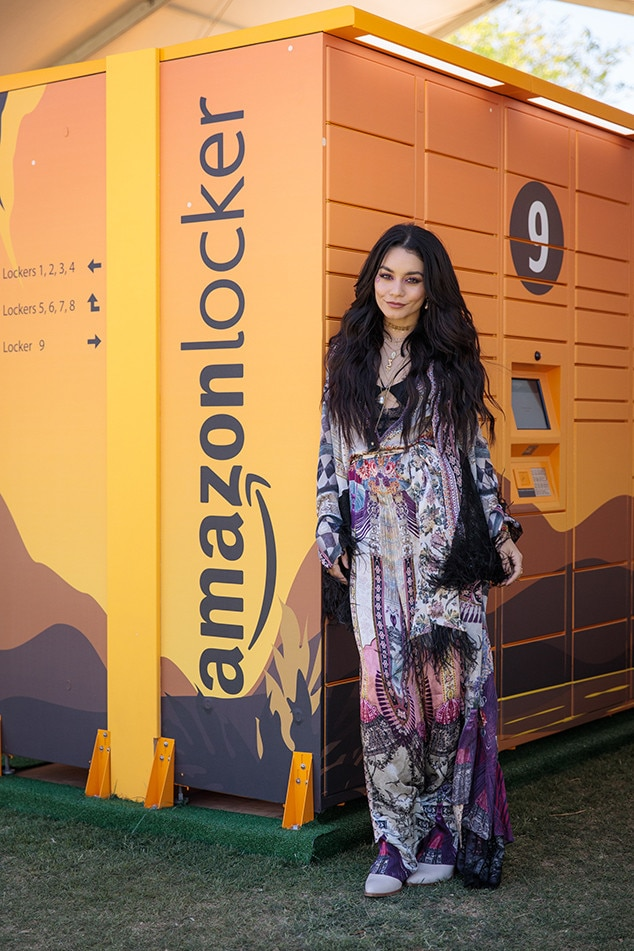 Vanessa Hudgens -  Wearing a CAMILLA dress, Child of Wild jewelry, and Frye Company shoes while carrying a  Gucci backpack, the Queen of Coachella stops by the  Amazon  lockers to grab some festival faves.