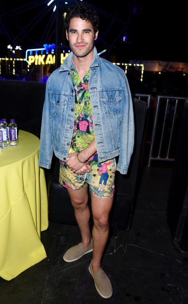 Darren Criss -  While attending Levi's Neon Carnival, the actor showcases his TOPMAN  Wrestler slim shirt  and matching  swim shorts .