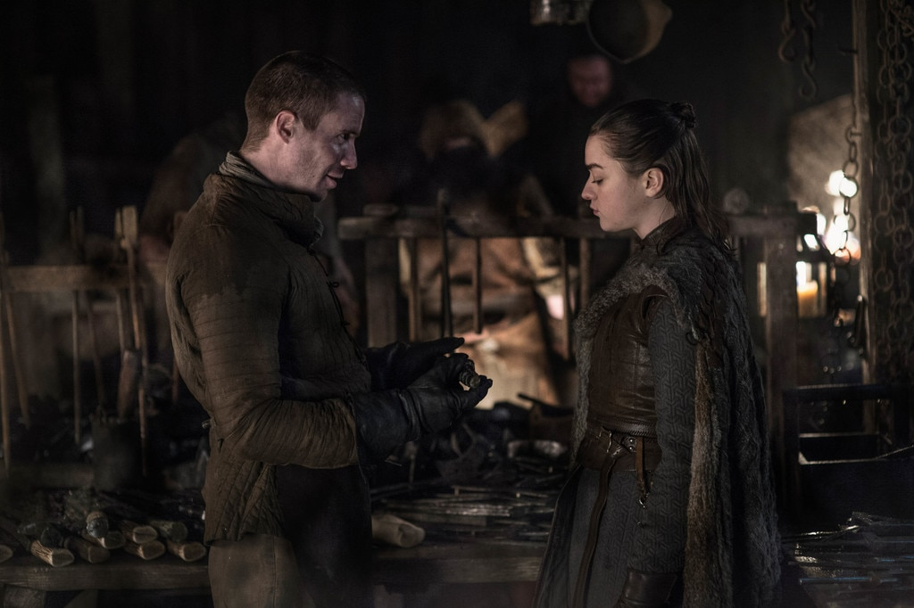 Reunited -  Gendry and Arya Stark share a moment.