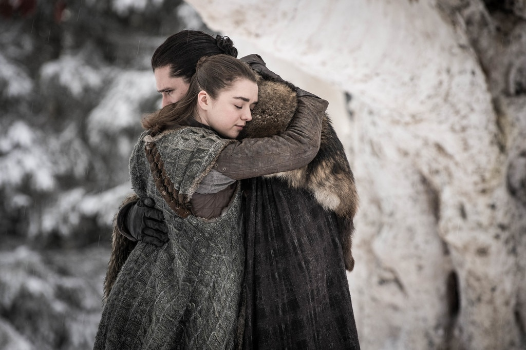 Reunited -  Maisie Williams and Kit Harington in  Game of Thrones .
