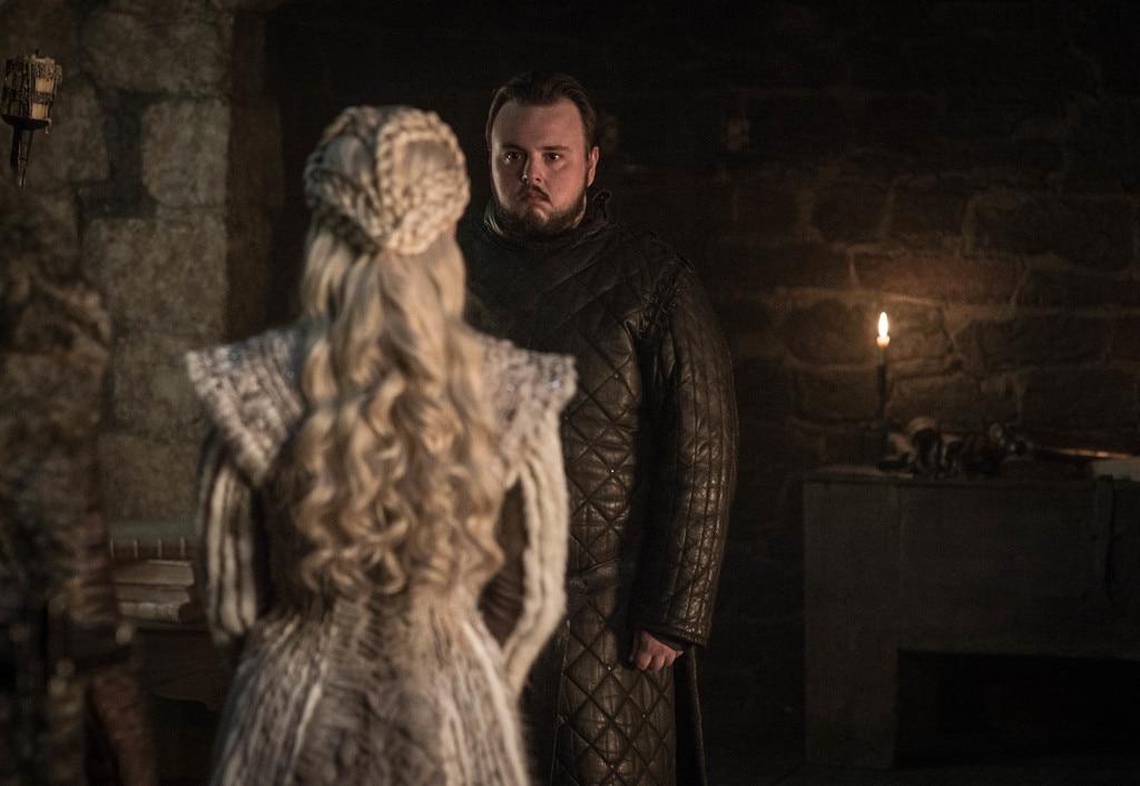 Sam and Daenerys -  Emilia Clarke as Daenerys Targaryen and John Bradley as Sam.