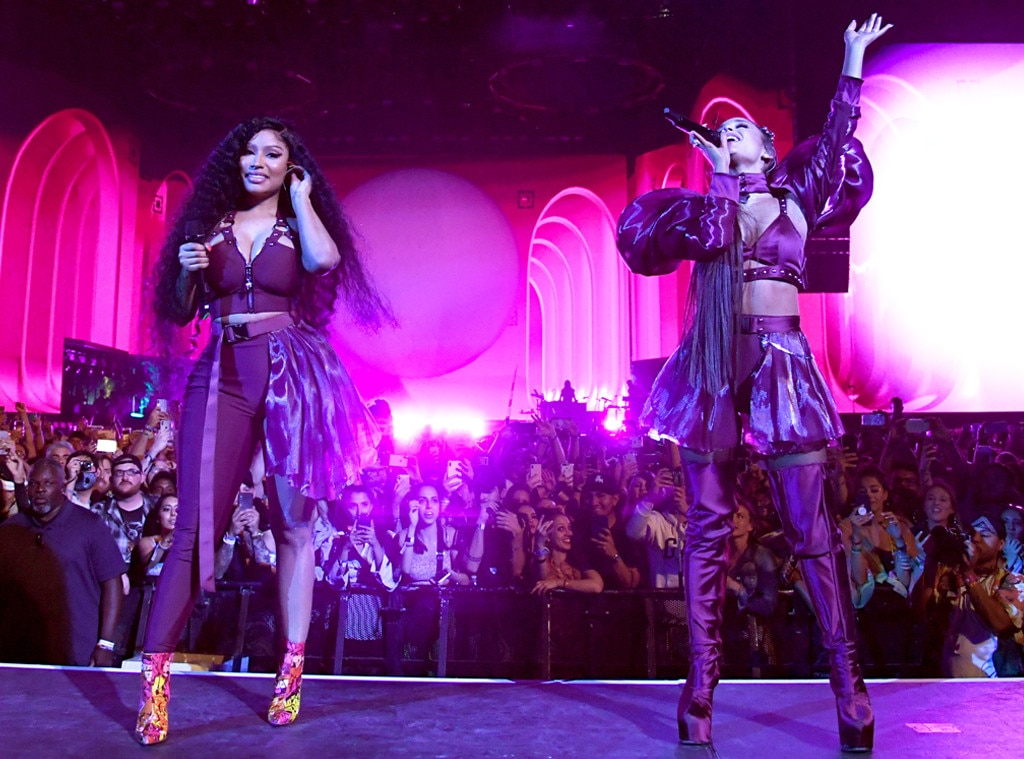 "The Fresh Type of Flow -  During the set, Grande's gal pal and frequent collaborator  Nicki Minaj  joined her on stage for a performance of their sexy 2016 hit, ""Side to Side."""