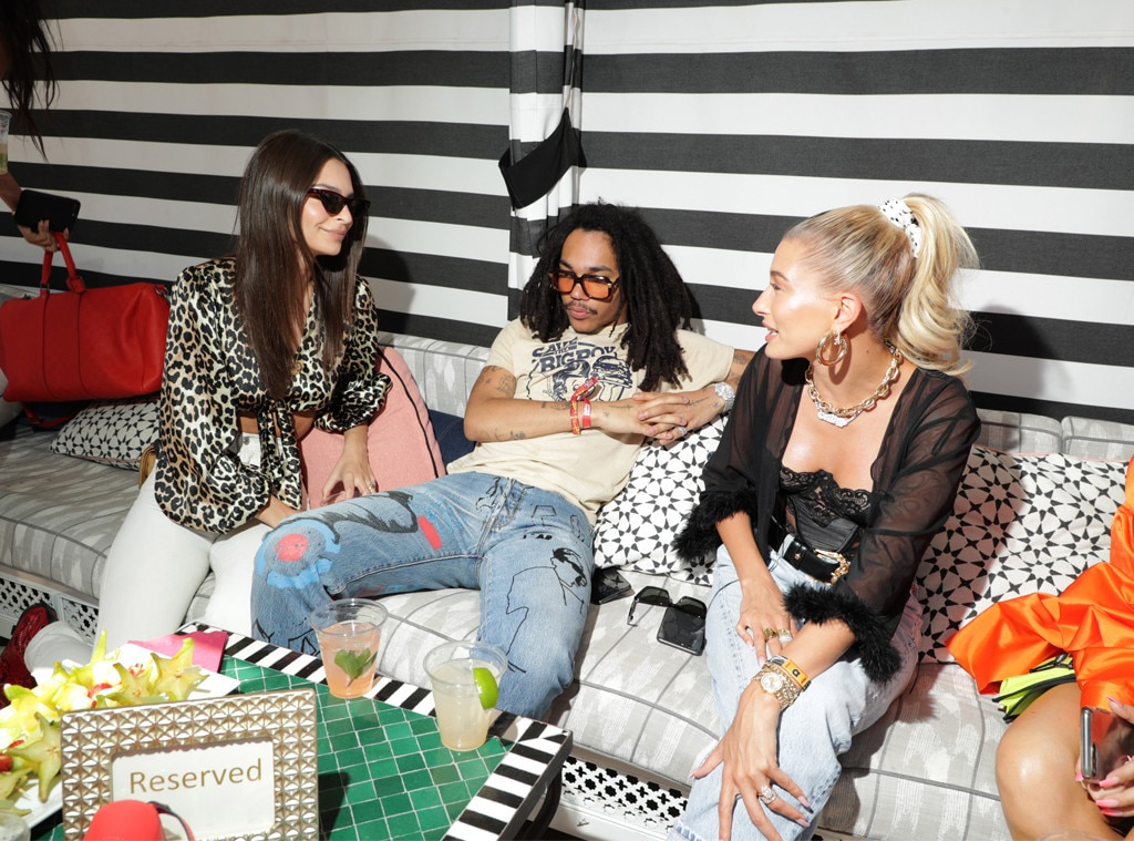 Small Circles -  While attending Levi's Party in the Desert, Hailey met up with  Emily Ratajkowski  and close Kardashian family friend  Luka Sabbat . It's a small world after all in the desert!
