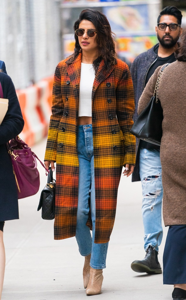 Priyanka Chopra -  Perfect plaid! The Indian beauty steps out in Tribeca wearing an ombré statement coat, crop top, jeans and snakeskin booties.