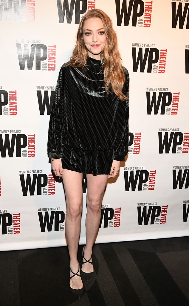 Legs for Days -  Actress  Amanda Seyfried  looks gorgeous in a black, high-neck romper as she attends WP Theater's 40th Anniversary Gala at The Edison Ballroom in NYC.