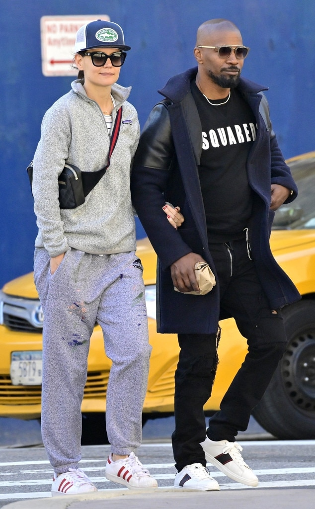 Katie Holmes & Jamie Foxx -  The casual couple show their love while holding hands in New York.