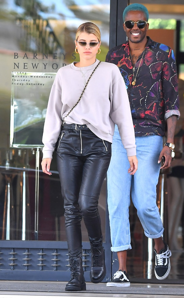 Sofia Richie -  The model sported some leather pants while shopping at Barneys with a friend.