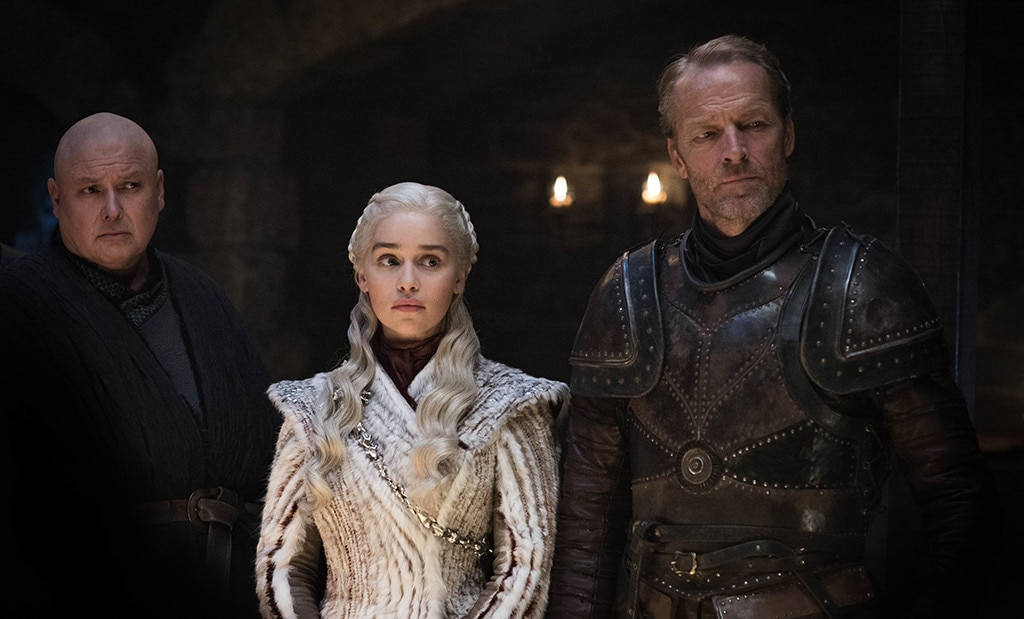 Planning for Battle, Episode 2 -  Conleth Hill, Emilia Clarke and Iain Glen in a scene from episode two.