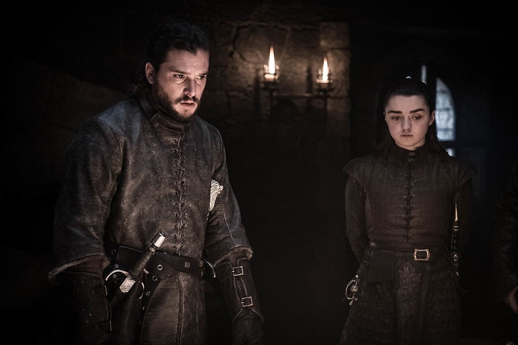 Planning for Battle, Episode 2 -  Kit Harington and Maisie Williams in a scene from episode two.