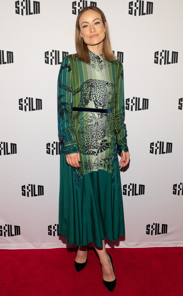 Wilde in Green -  Actress  Olivia Wilde  looks chic in a Hermès green striped ombre dress with cheetah patterns at the film screening of  Booksmart  in San Francisco.
