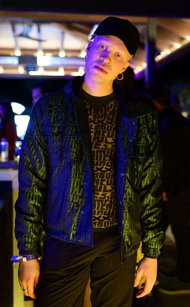 """Shaun Ross -  The supermodelarrives in style tothe Poppy x Google """"Midnight Bloom""""party in the Coachella Valley."""