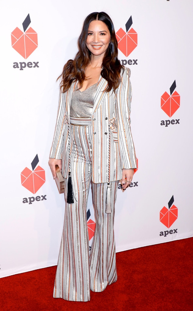 A Striped Affair -  The actress  Olivia Munn  rocked a striped suit and a smile to go with it at the Apex for Youth 27th Anniversary Inspiration Awards Gala in New York.