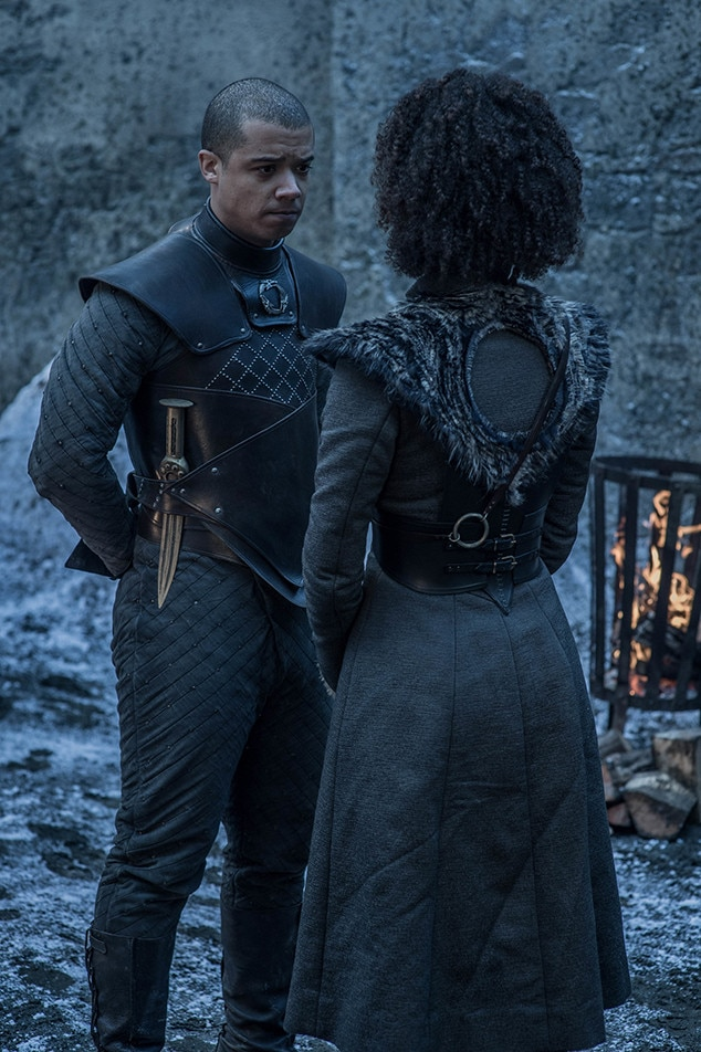 Grey Worm & Missandei -  Jacob Anderson as Grey Worm and Nathalie Emmanuel as Missandei in episode two.