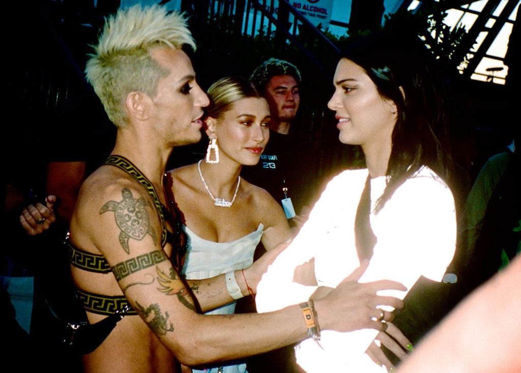 Frankie Grande, Hailey Baldwin & Kendall Jenner -  The trio share a moment at the music festival, where Frankie's sister Ariana Grande took the stage to perform.