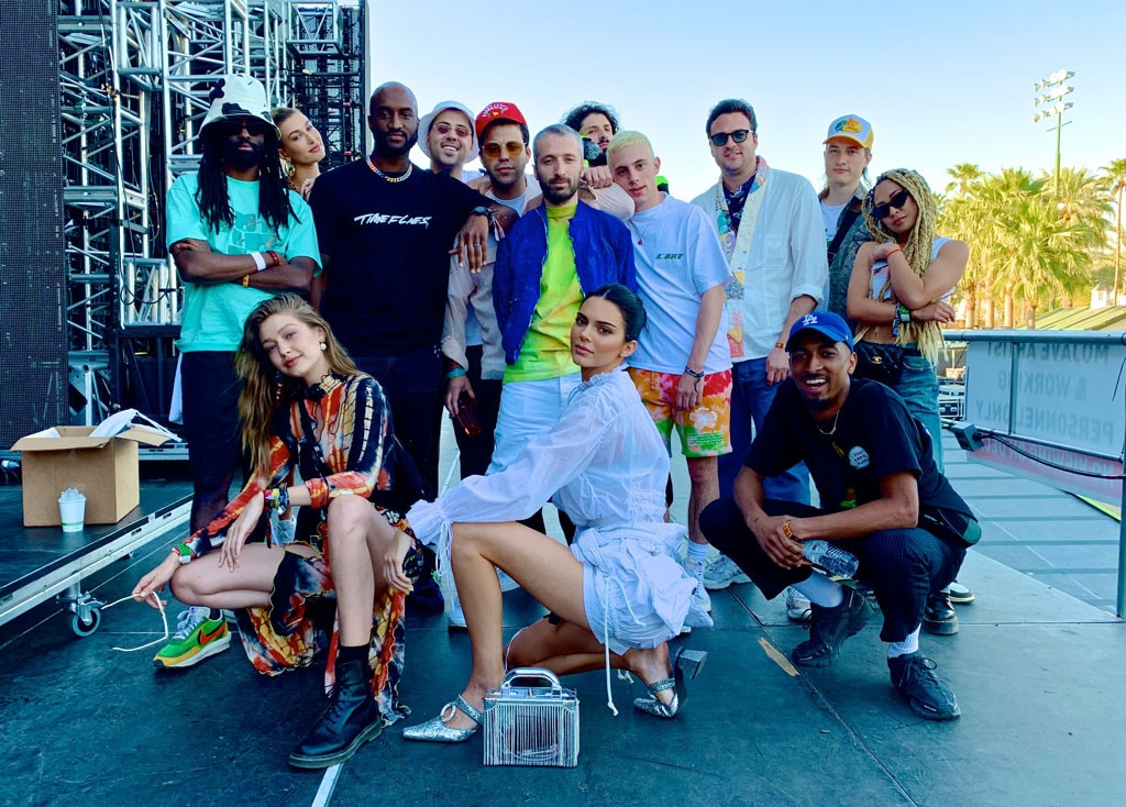 Coachella Squad -  Gigi Hadid, Kendall Jenner and Hailey Baldwin strike a pose alongside their famous pals, including designer Virgil Abloh.