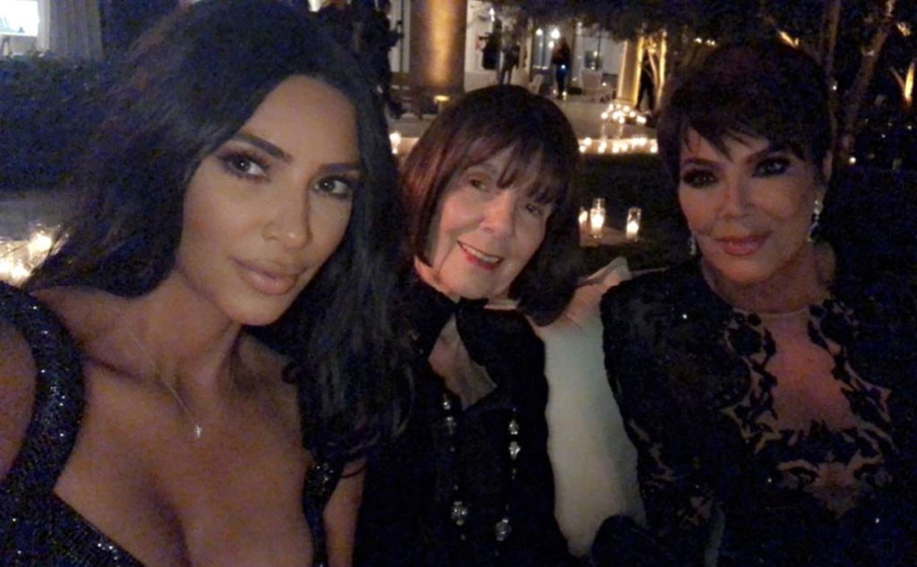 Three Generations - Kim Kardashian  posed with the matriarchs of the Kardashian family, mom  Kris Jenner  and grandmother  Mary Jo Campbell .