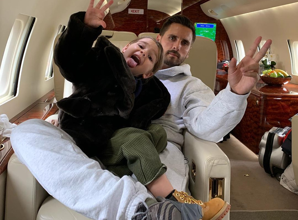 "Guys on the Go! -  ""All the way up with my little reign,"" wrote Scott, captioning a goofy snapshot of himself and  Reign Disick —his and  Kourtney Kardashian 's youngest—saying hello to the camera during a cozy looking plane ride."