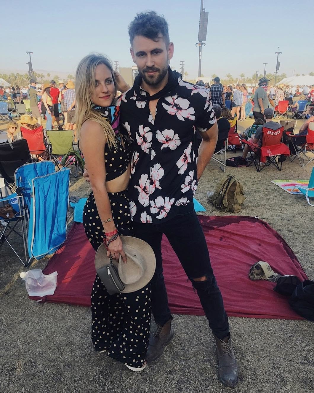 "Nick Viall & Kendall Long -  ""We did it for the likes,""  The Bachelor  star wrote on  Instagram  while showcasing his Boohoo gear at the 2018 festival."
